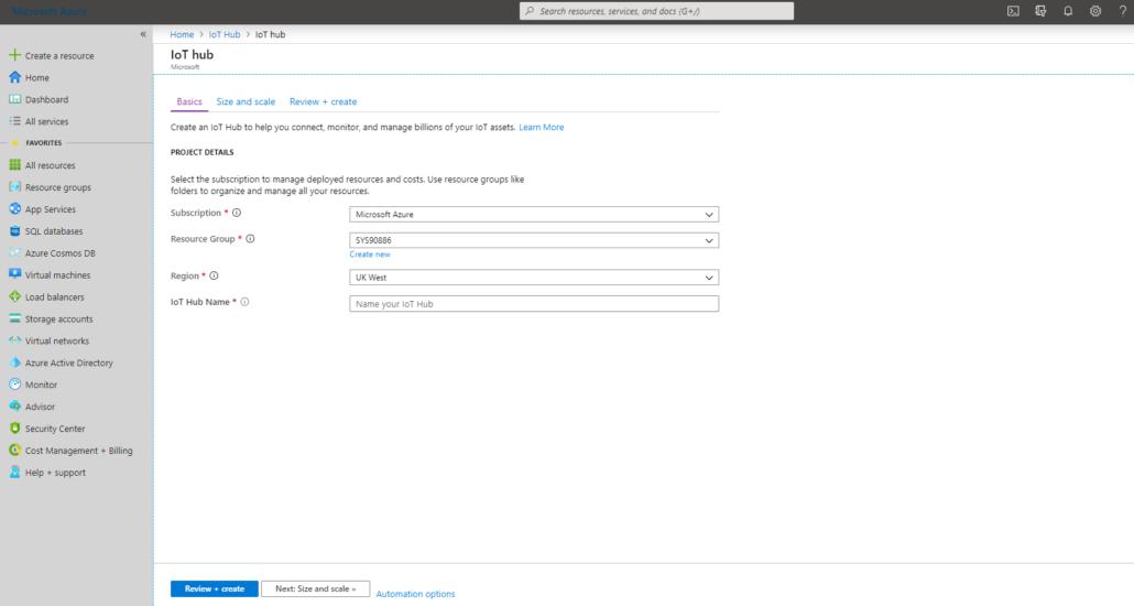 Creating an Azure IoT Hub instance