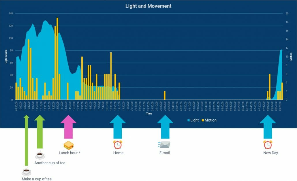 Chart showing motion and light levels over a 24-hour period