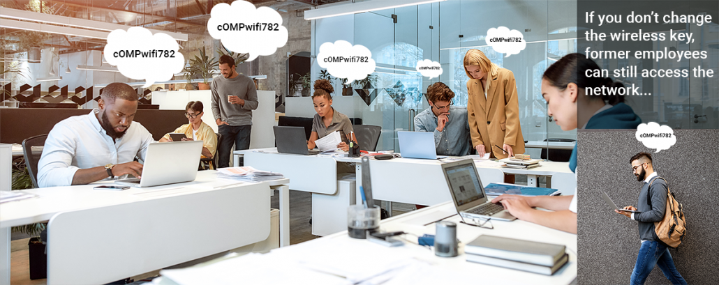 Office workers with PSK speech bubbles