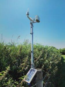 Smart Farm monitoring station for rain, wind, solar radiation, soil moisture and leaf wetness.